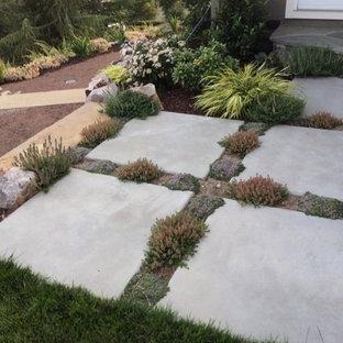 Idee per un grande patio o portico stile shabby dietro casa con lastre di cemento