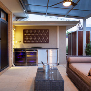 Mid-sized trendy backyard patio kitchen photo in Perth with a roof extension