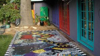 Mosaic Tile Backyard Patio