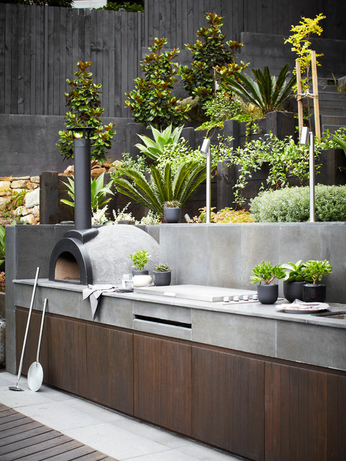 inspiration for a huge contemporary backyard patio kitchen remodel in sydney - Backyard Patio Decor