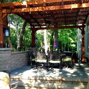 Multi-Level Patio with Fire Pit & Pergola in Libertyville, IL