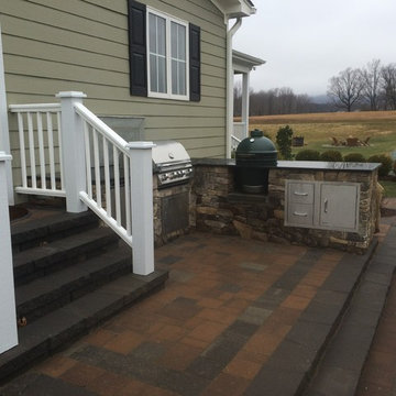 Multi-level Patio with Fire Pit and Seat Wall
