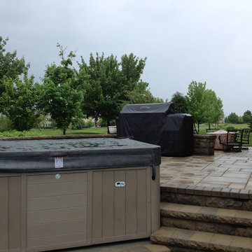Multi-Level Patio with Hot Tub and Outdoor Bar in Vernon Hills, IL
