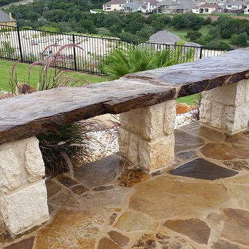 Multi-Level Patio with Hot Tub Water Feature and Boulder Staircase