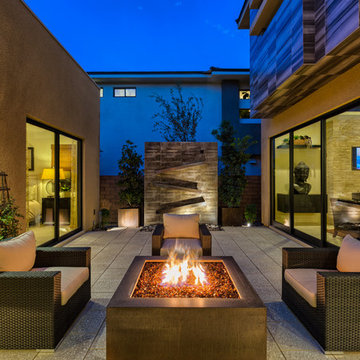 Multi-level Pool & Spa w/ Cascading Water, Fire Pit Lounge & Courtyard Fire Pit