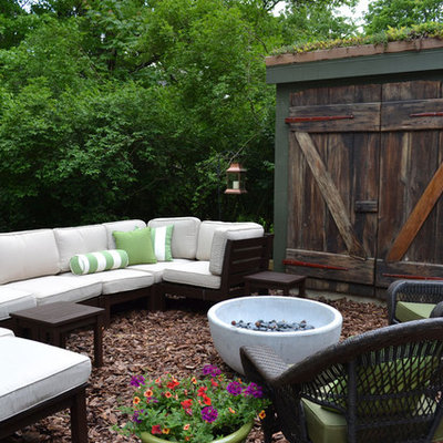 Patio - eclectic patio idea in Philadelphia with a fire pit
