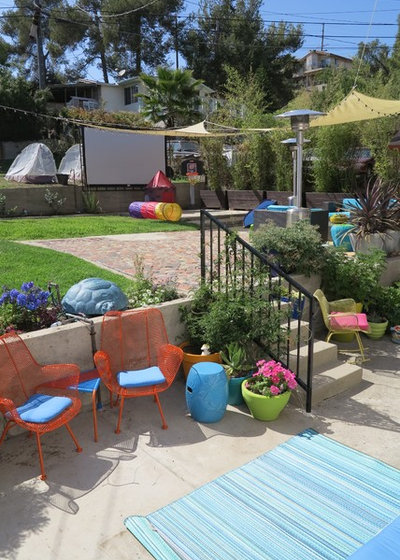 Eclectic Patio My Houzz: Saturated Colors Help a 1920s Fixer-Upper Flourish