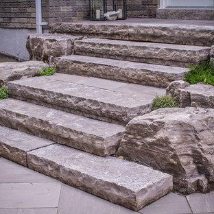 Patio - mid-sized contemporary backyard stone patio idea in Toronto with no cover