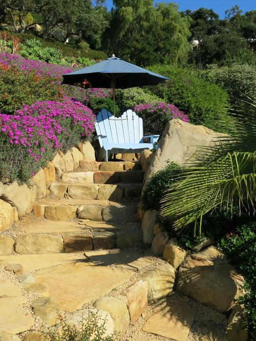 example of a small classic backyard stone patio design in santa barbara - Small Backyard Patio Ideas