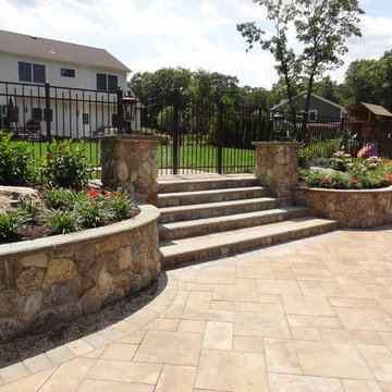 New York Tropical Outdoor Entertaining Space with Natural Stone