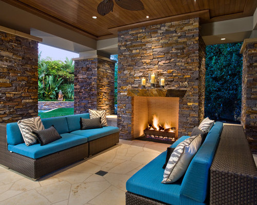 Inspiration For A Large Contemporary Backyard Stone Patio Remodel In Orange  County With A Fire Pit