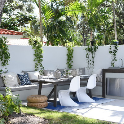 Trendy patio kitchen photo in Miami with no cover