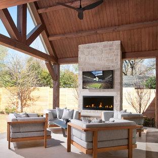 Design ideas for a contemporary patio in Dallas with a fire feature.