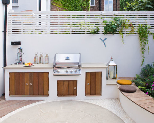 Built in patio benches houzz for Outdoor barbecue area design
