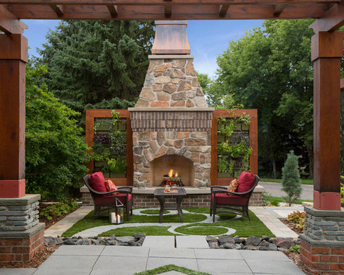 elegant patio photo in minneapolis with a fire pit - Outdoor Fireplace Ideas