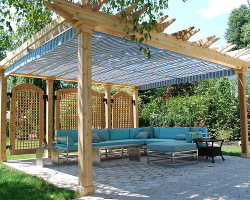 Traditional backyard patio idea in Toronto with a pergola - Shade Pergola Houzz