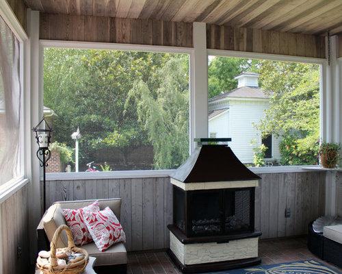 Porche romantique avec un foyer extérieur : photos et idées déco ...