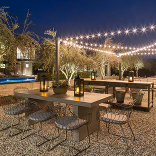 Photo of an expansive country backyard patio in San Francisco with gravel and no cover.
