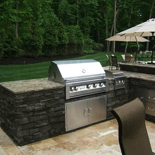 Patio kitchen - mid-sized craftsman backyard tile patio kitchen idea in New York with no cover