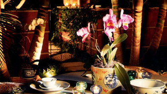 Outdoor dining patio, landscape design and night lighting