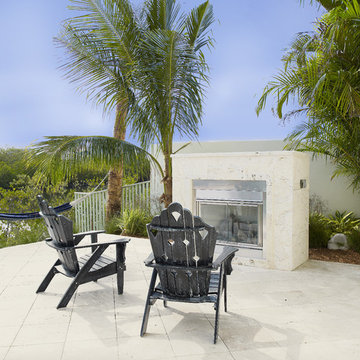 Outdoor Fireplace at The Amber Designed by Alvarez Homes Tampa FL Home Builders
