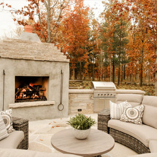 Outdoor Fireplace with Sectional