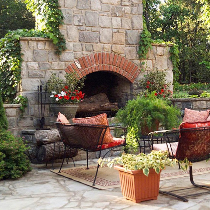 Outdoor Fireplaces & Patios Designed and Installed By Designscapes Long Island