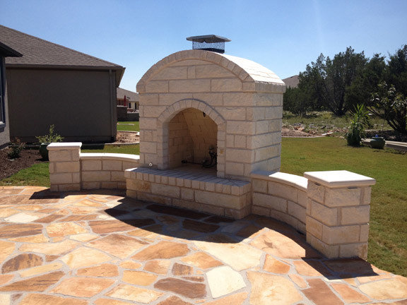 Outdoor gas Fire place on flagstone patio
