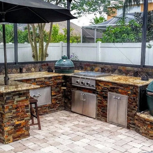 Inspiration for a mid-sized transitional backyard brick patio kitchen remodel with no cover