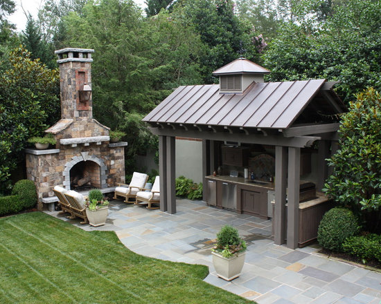 Outdoor Kitchen And Fireplace Houzz
