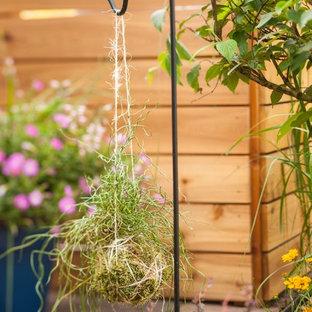 Foto di un piccolo patio o portico industriale dietro casa con pavimentazioni in mattoni