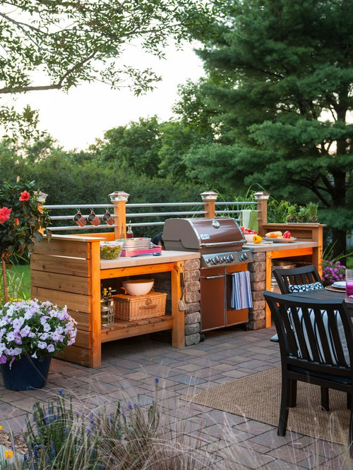 Patio Kitchen   Small Industrial Backyard Brick Patio Kitchen Idea In Other