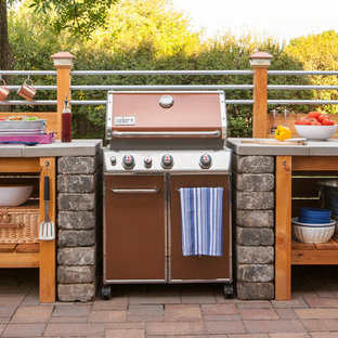 Inspiration for a small industrial back patio in Other with an outdoor kitchen and brick paving.