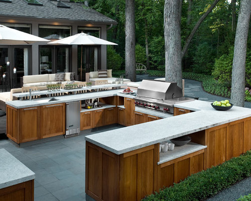 Delicieux Example Of A Large Trendy Backyard Tile Patio Kitchen Design In Chicago
