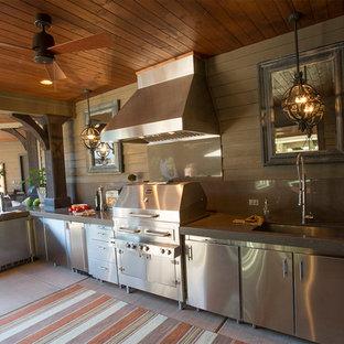 Patio kitchen - large transitional backyard concrete patio kitchen idea in Portland