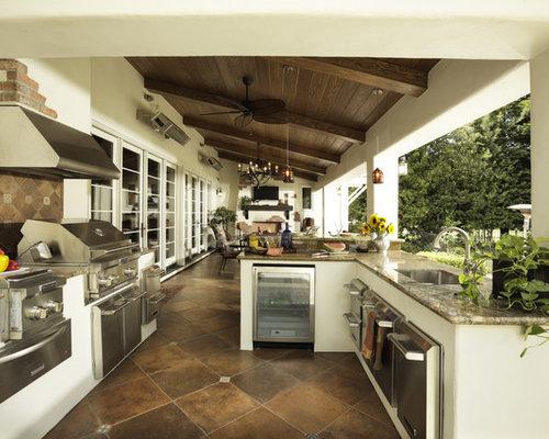 Tuscan patio kitchen photo in Sacramento