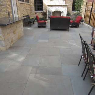 Inspiration For A Mid Sized Transitional Backyard Stamped Concrete Patio  Remodel In Chicago