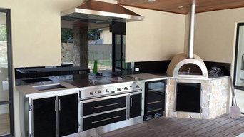 Outdoor Kitchen Melbourne Custom made stainless steel cabinetry and limestone pi