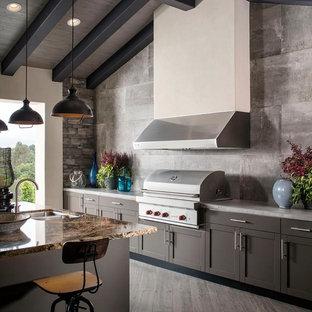 Cette image montre une très grande terrasse avec une cuisine extérieure arrière urbaine avec une extension de toiture.