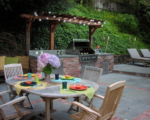 Grill station and pergola houzz