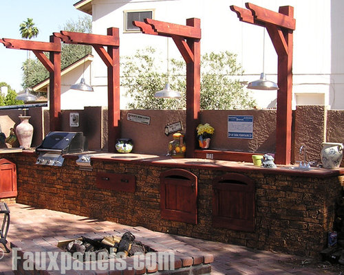Outdoor Kitchens And Bars With Faux Stone Panels