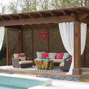 Captivating Mid Sized Trendy Backyard Stamped Concrete Patio Photo In Houston With A  Gazebo