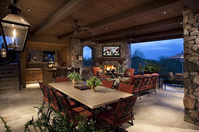 Mediterranean Patio by R.J. Gurley Custom Homes