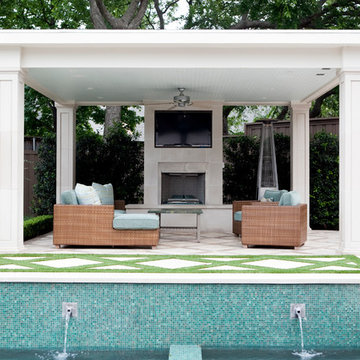 Outdoor Living Room with Squared Cast Stone Columns