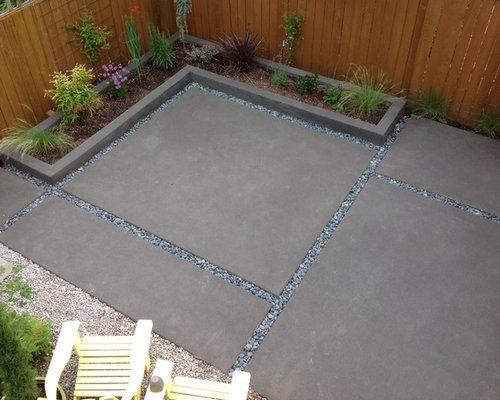 Mid Sized Minimalist Backyard Stamped Concrete Patio Container Garden Photo  In Portland