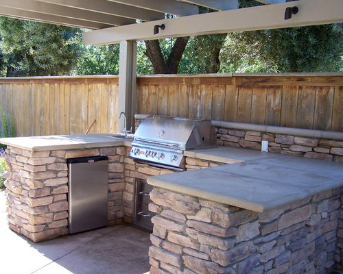 Inspiration For A Small Timeless Backyard Concrete Patio Kitchen Remodel In  Other With A Pergola