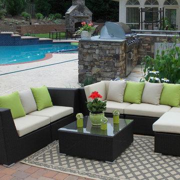 Outdoor Patio Paradise-Eurolux Patio Verano Wicker Sofa Set Houzz Special $2250