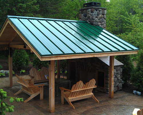 Green metal roof houzz for Metal roof porch pictures