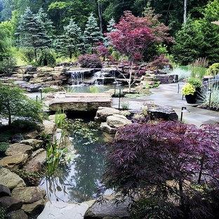 Idee per un grande patio o portico etnico dietro casa con pavimentazioni in pietra naturale e una pergola