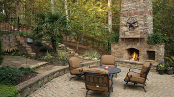 Outdoor Stone Fireplace and Stone Pathway